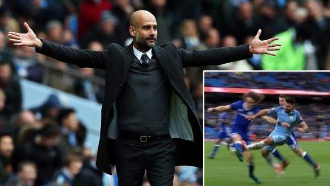 Guardiola gesticula en la derrota del Manchester City en casa, ante el Chelsea, y en una imagen inserta, la patada del Kun a David Luiz.
