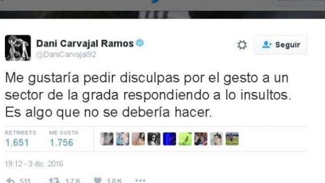 Tuit de Dani Carvajal pidiendo disculpas por hacer una peineta a la afición del Barcelona.