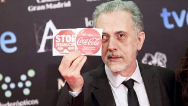 Fernando Trueba critica los desahucios y los despidos de Coca-Cola en la gala de los Premios Goya 2014.