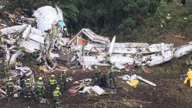 Restos del avión siniestrado en Colombia.