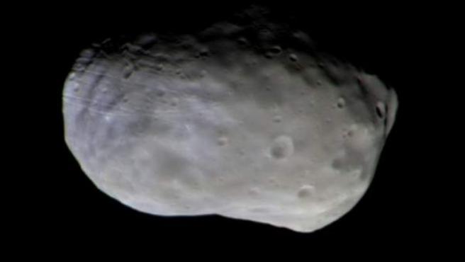 Fotografía de la luna marciana Phobos durante la misión espacial ExoMars.