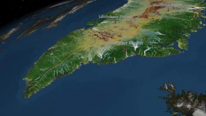 Groenlandia, sin la capa de hielo que cubre su superficie.
