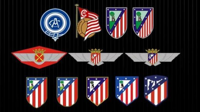 El Atlético de Madrid ha cambiado de escudo, el club ha recogido en una imagen todos los escudos que ha utilizado a lo largo de su historia.