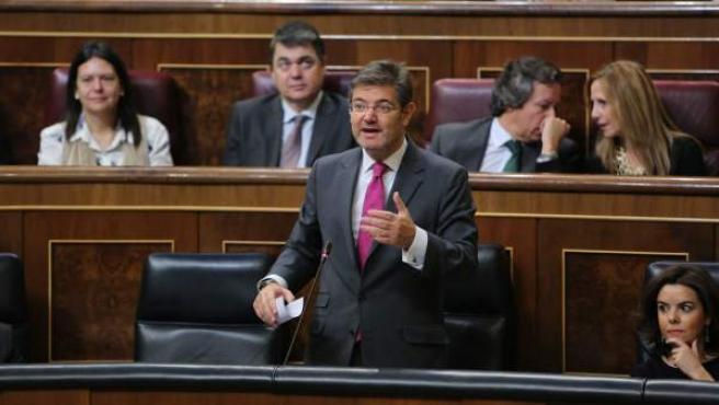 Rafael Catalá en la sesión de control al Gobierno en el Congreso.