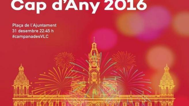 Cartel de fiesta de fin de año del Ayuntamiento de Valencia