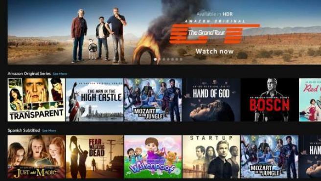 La interfaz de Amazon Prime Video en España.