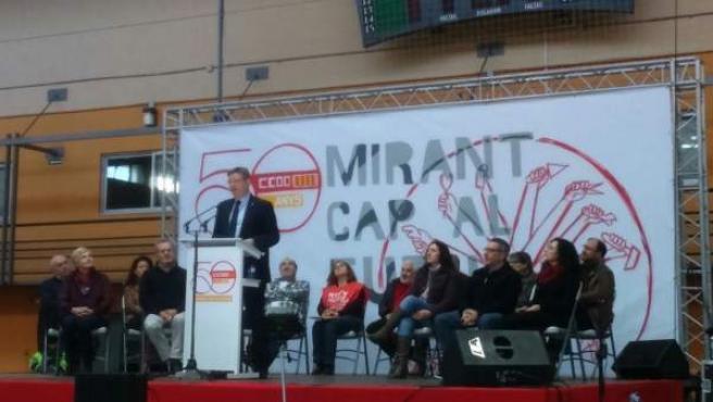 Ximo Puig en la asamblea por el 50 aniversario de CCOO PV