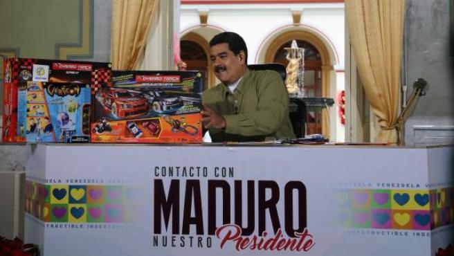 """El presidente venezolano, Nicolás Maduro, en su programa de televisión dominical """"En Contacto con Maduro""""."""