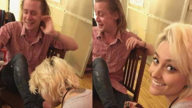 La imagen de Paris Jackson pintando las uñas de los pies de su padrino, Macaulay Culkin.