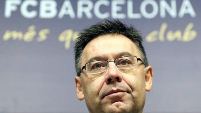 El presidente del Barça, Josep Maria Bartomeu, en rueda de prensa en el Camp Nou.