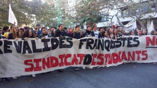 Manifestación de estudiantes contra la Lomce y las reválidas en Valencia.
