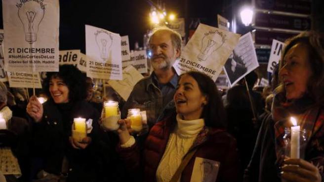 Un momento de una manifestación contra la pobreza energética.