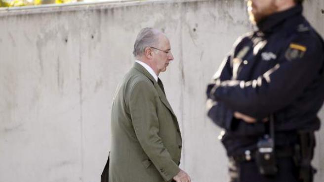 El expresidente de Caja Madrid Rodrigo Rato, a su llegada a la sede de la Audiencia Nacional en San Fernando de Henares.
