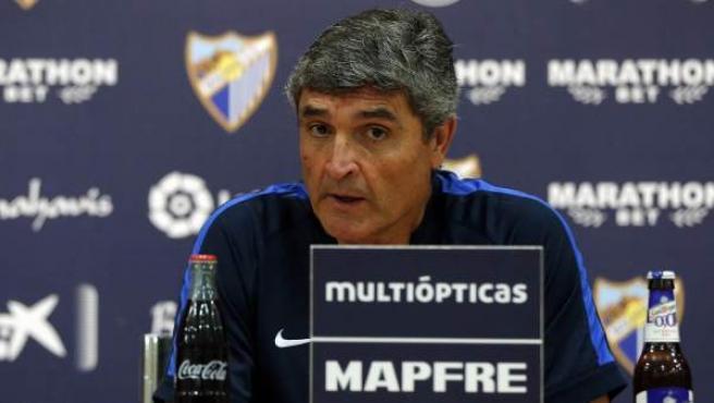 Juande Ramos en una rueda de prensa con el Málaga.