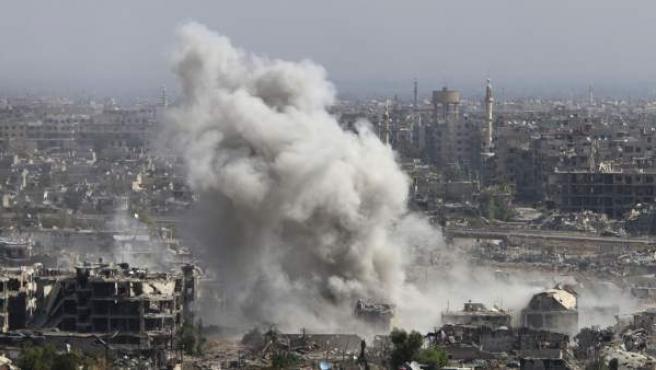 Imagen de un bombardeo cerca de Damasco.