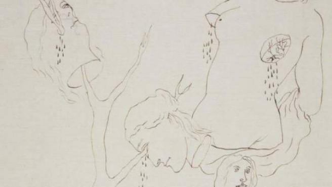 El dibujo Composición Surrealista, atribuida hasta ahora a Salvador Dalí.