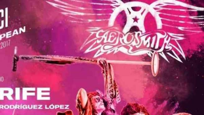 Cartel promocional del concierto de Aerosmith en Tenerife.