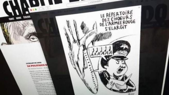 El semanario Charlie Hebdo satiriza el accidente del avión ruso.