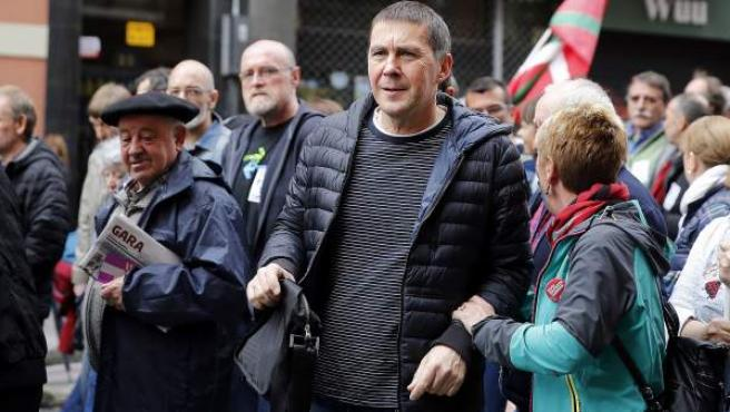 El líder de la izquierda 'abertzale' Arnaldo Otegi en una manifestación en favor de los derechos de los presos de ETA.