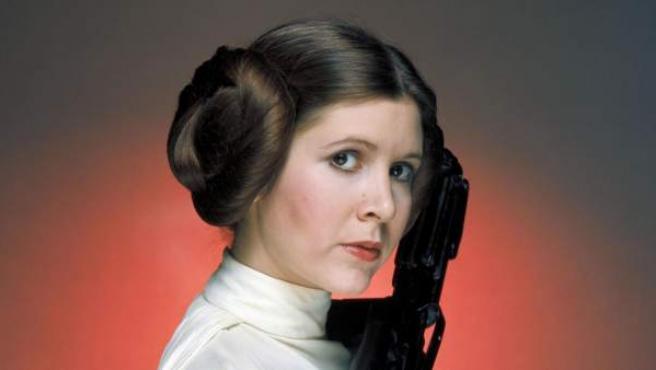 Carrie Fisher en su caracterización de la princesa Leia.
