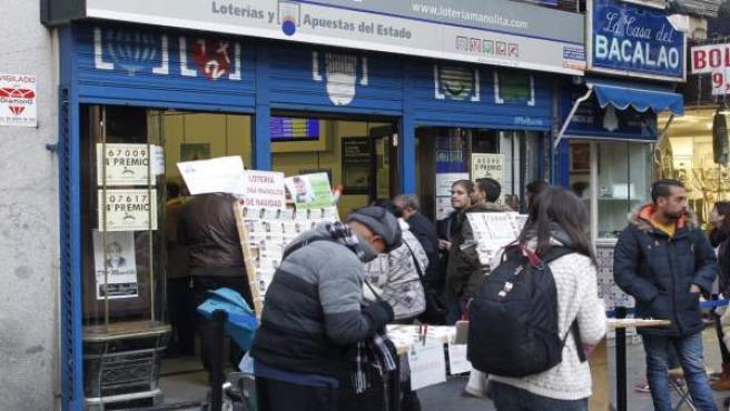 Recursos de lotería de Navidad, billetes, doña Manolita