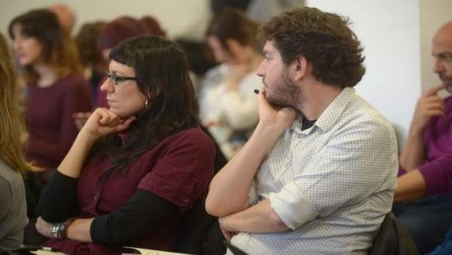 Alberto Jarabo y Laura Camargo durante el Consejo Ciudadanos de Podemos