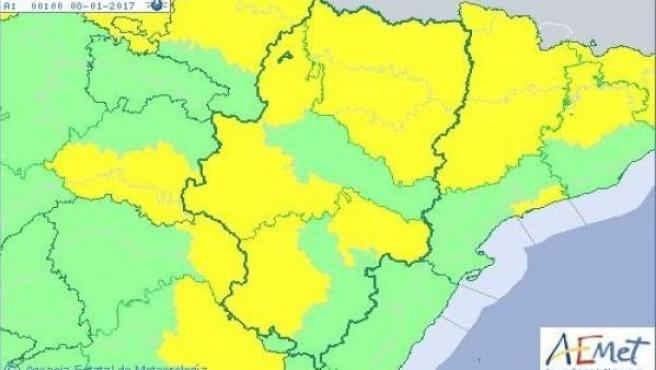Aviso por temperaturas mínimas en Aragón