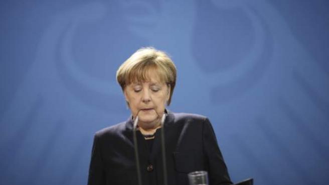 La canciller alemana, Angela Merkel, en una comparecencia institucional en la sede de la Cancillería en Berlín (Alemania).