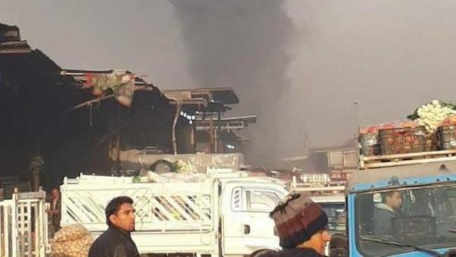 Ciudad Sadr, el barrio chií donde ha tenido lugar el atentado, momentos después de la explosión.