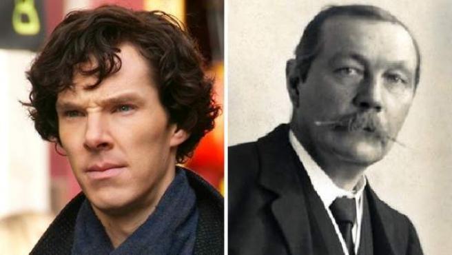 Montaje de fotos de Benedict Cumberbatch y el escritor Arthur Conan Doyle.