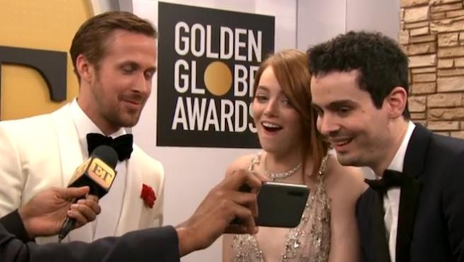 Vídeo del día: Emma Stone ve el beso de Andrew Garfield y Ryan Reynolds en los Globos de Oro