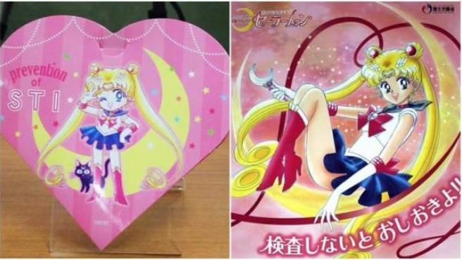 Un condón y un cartel de la campaña japonesa de 'Sailor Moon' para combatir las enfermedades de transmisión sexual.