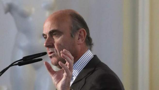 El ministro de Economía, Industria y Competitividad, Luis de Guindos, durante su intervención en el Spain Investors Day.