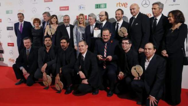 Foto de los premiados en la ceremonia de entrega del XXI Premios cinematográficos Jose María Forqué, organizados por EGEDA (Entidad de Gestión de Derechos de los productores Audiovisuales) que se ha celebrado en el Palacio Municipal de Congresos de Madrid.