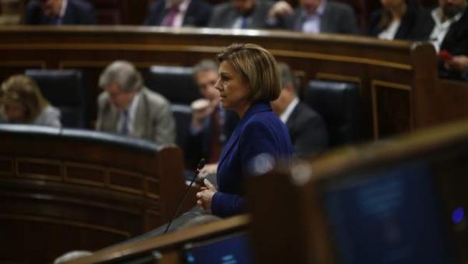 Cospedal durante la sesión de control al Gobierno en el Congreso.