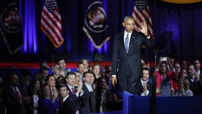 Barack Obama, durante su último discurso público como presidente de los Estados Unidos.