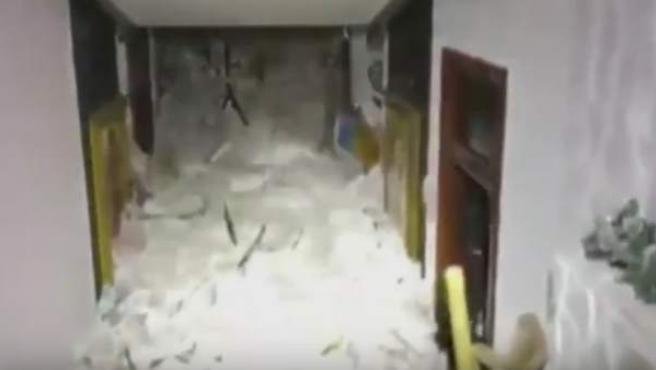 Interior del hotel sepultado en Italia.