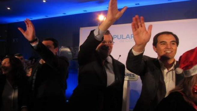 José Antonio Nieto con Mariano Rajoy y Juanma Moreno en un acto en Córdoba