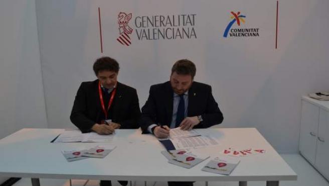 Firma del convenio entre Comunitat Valenciana y Aragón