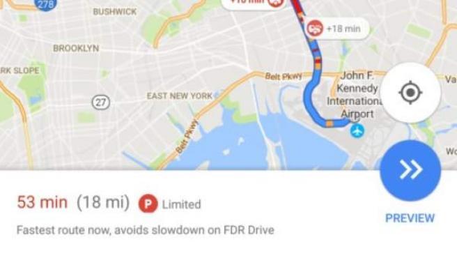Indicaciones de aparcamiento en Google Maps.