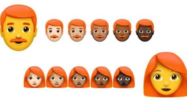 Emojis con cabello pelirrojo.