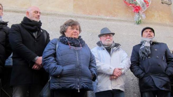 Acto de homenaje a Serafín Holgado en la calle Abogados de Atocha en Salamanca