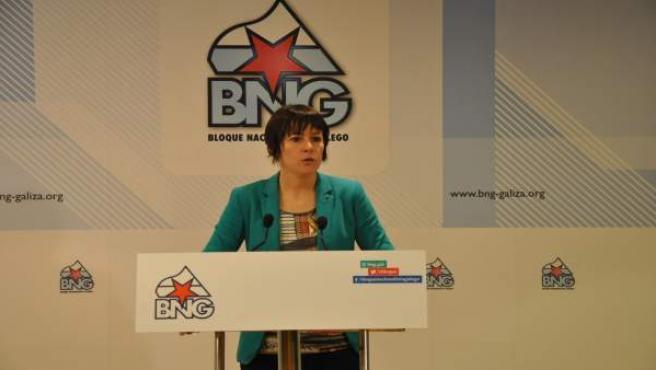 La líder del Bloque, Ana Pontón, en rueda de prensa