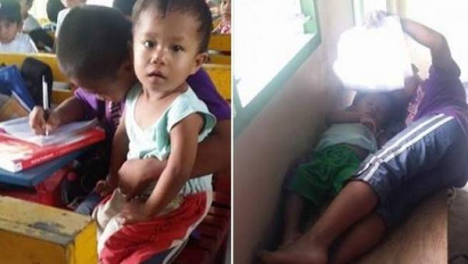 Niño filipino que tiene que va a clase junto a su hermano de dos años desde que su madre falleció.