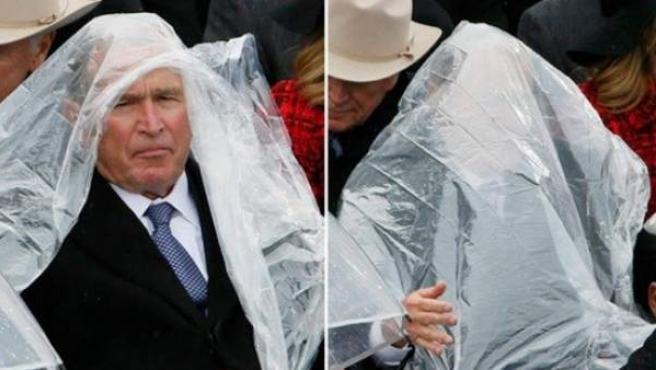 Bush ha vuelto: drama con el chubasquero en plena investidura de Donald Trump.
