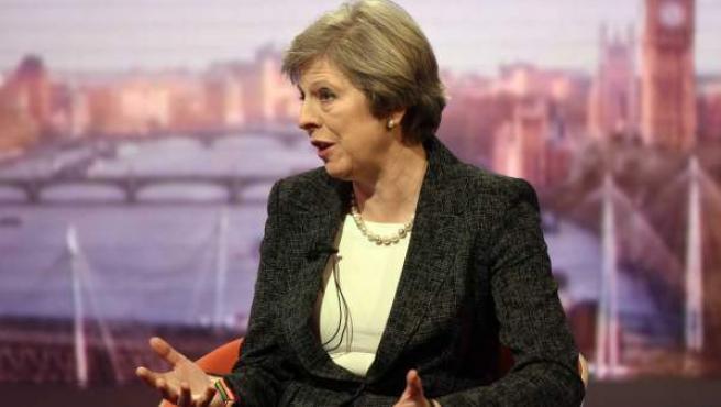 La primera ministra británica, Theresa May, en una entrevista concedida a la BBC.