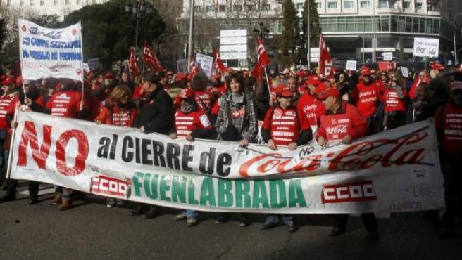 Manifestación de trabajadores de Coca Cola en Plaza de España.