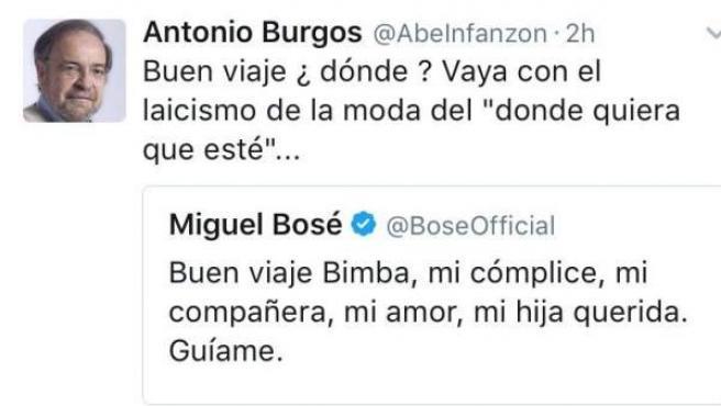 Tuit del periodista Antonio Burgos sobre la muerte de Bimba Bosé.