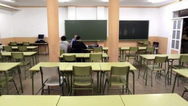 Una aula de instituto durante la celebración de una huelga general educativa.
