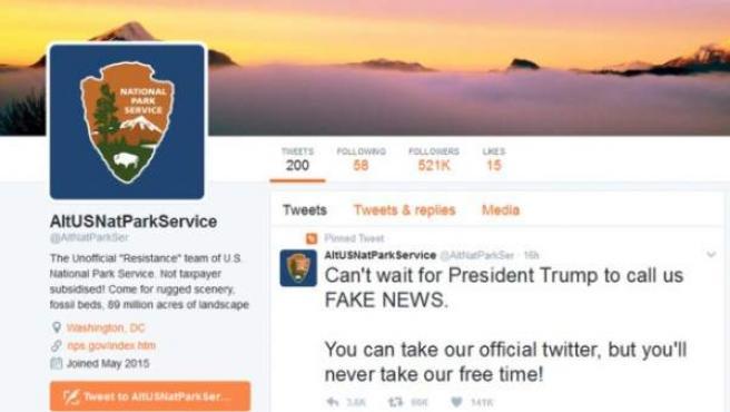 Cuenta de Twitter que representa la resistencia de los parques nacionales de EE UU frente a Trump.